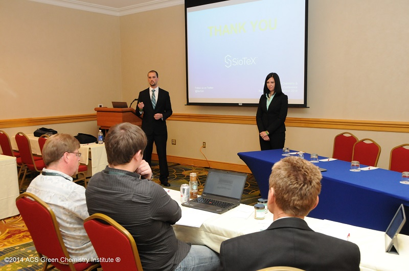 SioTeX presents their business plan at the 18th Annual Green Chemistry & Engineering Conference.. Photo Credit: Peter Cutts Photography. www.gcande.org