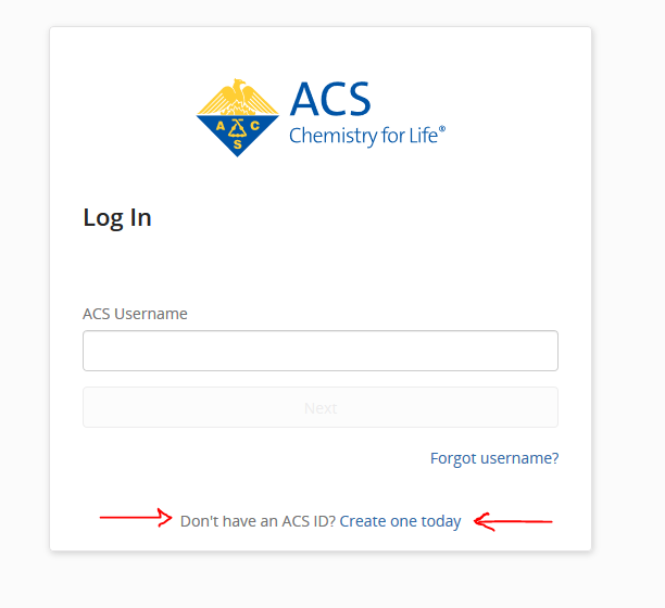 Don't have an ACS ID? Create one today